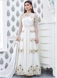 White Embroidery Work Net Fancy Designer Bollywood Long Anarkali Gown Suit http://www.angelnx.com/Salwar-Kameez/Bollywood-Salwar