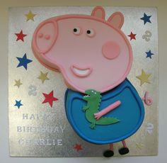 George Pig Cake 1 George Pig Cake, Cupcake Cakes, Baby Cakes, Cupcakes, Birthday Parties, Birthday Cakes, Birthday Ideas, Baby First Birthday, Cake Designs