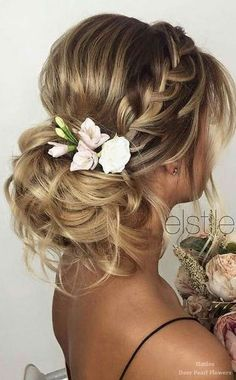 Gorgeous Wedding Hair Idea~Loose braided side with messy bun. Super  chic and modern!