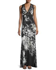 Sleeveless Kimono-Floral Gown, Black/White