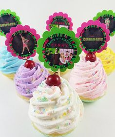 Your place to buy and sell all things handmade Zombie Birthday Parties, 8th Birthday, Happy Birthday, Birthday Ideas, Zombie Disney, Zombie Party Decorations, Zombie Cupcakes, Cupcake Toppers, Personalized Favors