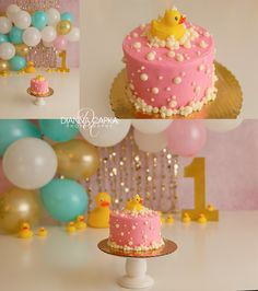Rubber Duckie Cake Smash Rubber Duckie pink, teal, blue, and gold cake smash. Rubber Duck Cake, Rubber Duck Birthday, Rubber Ducky Party, Rubber Ducky Baby Shower, Smash Cake First Birthday, Smash Cake Girl, Baby Girl Cakes, Gold Birthday Cake, 1st Birthday Girl Decorations