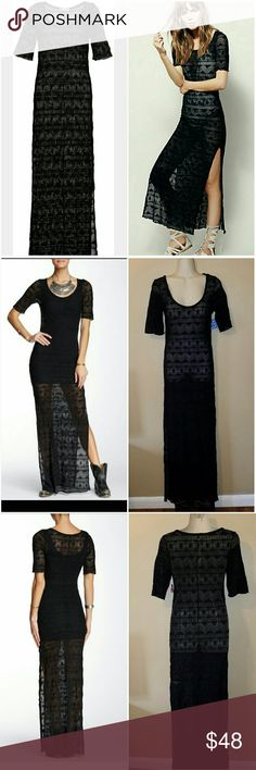 Free People Maxi Dress Free People Black Sheer Maxi Dress size SMALL Slit sides paired with 2 different color tanks to show possibilities  - 97% nylon 3% spandex Free People Dresses Maxi