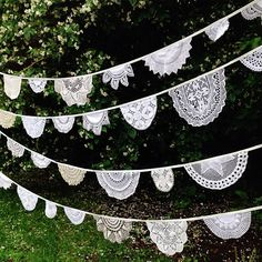Want something alternative to standard bunting? Try our doily bunting made from beautiful recycled crochet and cotton doilies we have collected over time. In whites, creams and off whites the creation of the bunting is highly considered and made by hand t Ideal for your Devon or Cornwall wedding or event hire.