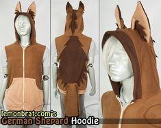 German Shepherd Hoodie, Costume, Cosplay, Adult Size, Hand-made German Shepherd Costume, German Costume, Dance The Night Away, Short Sleeves, Long Sleeve, Plus Size, Hoodies, Stylish, Cosplay Ideas