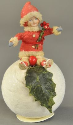 "Heubach ""Child on Snowball"" Candy Container. Antique Christmas Decorations, Victorian Christmas Ornaments, Christmas Figurines, Old Christmas, Old Fashioned Christmas, Christmas Store, Vintage Ornaments, Christmas Items, Christmas Crafts"