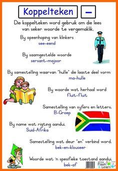Koppelteken Available in Afrikaans only Teaching Posters, Teaching Aids, School Info, School Fun, School Stuff, Afrikaans Language, Afrikaans Quotes, School Posters, School Worksheets