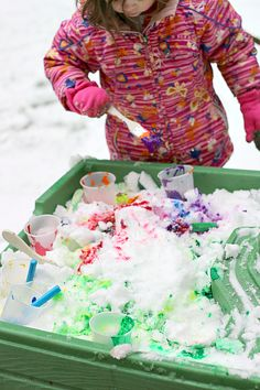 painting the snow and color mixing