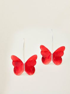 Sterling silver Red enamel butterfly  earrings by Giousouri, $46.00