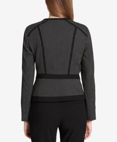 Calvin Klein Colorblocked Jacquard Jacket, Regular & Petite - Black/Cream 14P