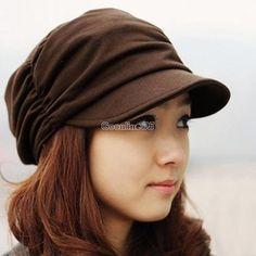 Women Men Vintage Baseball Peaked Cap Outdoor Slouchy Beanie Pleated Sun Hat | eBay