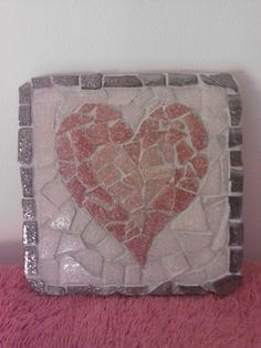 DIY heart mosaic coaster  Looks like a mirror I made for my granddaughter.