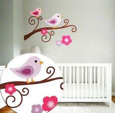 another bird and flower stencil idea for Joss