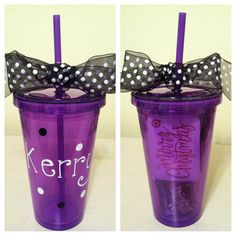 plastic tumbler from the Dollar Tree + Sharpie paint markers, cute gift!