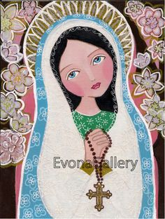 Virgin Mary with Rossary Print on Wood 3 6/8 x by Evonagallery