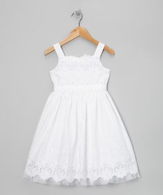 Take a look at this White Eyelet Daisy Dress - Girls Plus by Sweet Heart Rose on #zulily today!