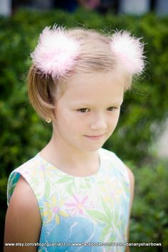 Pink Marabou Fluff Hair Bows by Sammy Banany's Hair by iguania03, $7.99