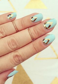 Mint + Gold Nail Wraps