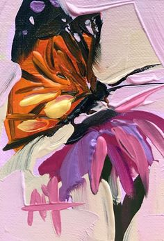 Monarch Butterfly no. 11 Oil Painting by Angela Moulton ACEO Art #Impressionism