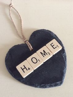 scrabble pieces upcycled into decor