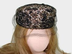 a3a7481927b7 Black and Gold Brocade Pillbox Hat with Netting, Vintage Mr. Lewis Hat with  Black Jewels, Jackie Kennedy Style Hat