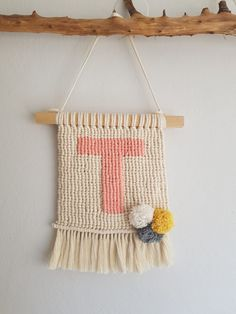 Nursery wall art crochet pattern - I Love it! Crochet your own adorable wall hanging with this polar bear nursery wall decor crochet pattern. Make your own nursery crochet wall hanging with this clear and deta Crochet Wall Art, Crochet Wall Hangings, Weaving Wall Hanging, Hanging Letters, Tapestry Crochet, Crochet Home, Weaving Projects, Crochet Projects, Macrame Projects