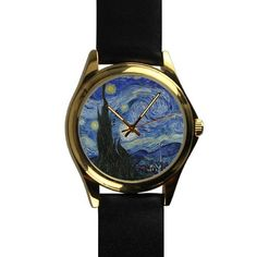 Popular Vincent Van Gogh Starry Night Unisex -tone Round Leather Metal Watch * Trust me, this is great! Click the image. : Travel Gadgets