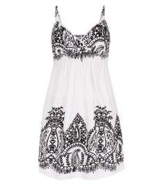 Monochrome Paisley Print Sun Dress... someday I will be brave enough to wear white around my kids ha ha