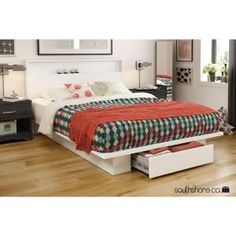 South Shore Holland 1 Drawer Full/Queen Size Platform Bed In Pure White