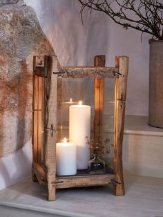 Reclaimed Wood Candle Lantern - XL This beautifully hand-crafted, extra large wood candle lantern is an undeniable statement piece. Floor Lanterns, Garden Lanterns, Candle Lanterns, Diy Lantern, Hurricane Lamps, Floor Candle Holders, Driftwood Candle Holders, Lantern Candle Holders, Luminaria Diy