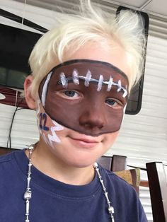 Football face Face Painting Designs, Body Painting, Paint Designs, Football Face Paint, Creepy Faces, Cheer Mom, Face And Body, Hair Makeup, Simple Face