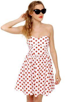 """Mink Pink Memories"" Strapless Polka Dot Dress - Lulu's, $57"