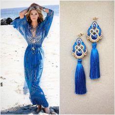Серьги цвета моря сделаны на заказ к выпускному💙✨🌊 earrings sea color made as order for the prom to beautiful young…