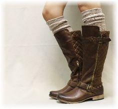 lace sock, Boot sock, fall socks, socks for boots, tall sock, sock with boot, ALPINE ADORE oatmeal tall knee sock | BKS0