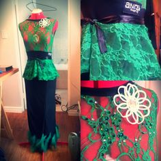 Black/ Green lace latin dress by AND designs with detachable peplum belt. All About Dance, Green Lace, Peplum, Belt, How To Wear, Black, Tops, Dresses, Design