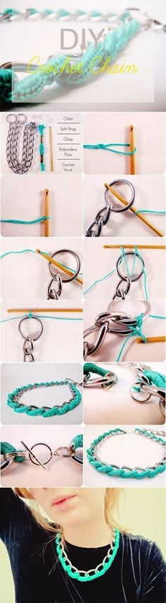 crochet chain necklace tutorial on We Heart It Necklace Tutorial, Diy Necklace, Crochet Necklace, Crochet Jewellery, Diy Bracelet, Necklace Chain, Ribbon Necklace, Necklace Ideas, Crochet Chain