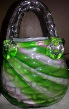 Hand Blown Murano Art Glass Purse Vase 8 1/4 by MyOldSoulTreasures, $30.00