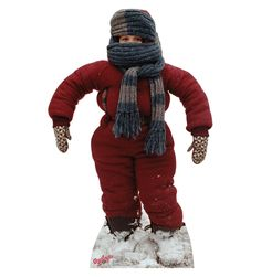"""Life-size cardboard standup of Randy from A Christmas Story stands at a size of 60″ x 38″. This is an image of Randy from A Christmas Story where he is too bundled up to move and the famous line, """"I can't put my arms down,"""" was said. This standup is funny and very unique. Purchase your Randy """"I can't put my arms down,"""" cardboard cutout today!"""