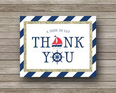 Nautical Thank You Cards, Navy, Red, Gold, Sailboat, Wheel, Anchor, Nautical Baby Shower, Digital - PDF by TwinkleMeDesigns on Etsy https://www.etsy.com/listing/253645594/nautical-thank-you-cards-navy-red-gold