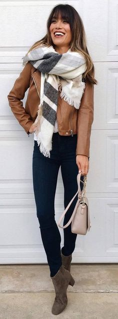 what to wear with a scarf : brown jacket + bag + skinnies + boots