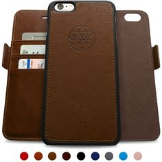 Dreem iPhone 6/6s Wallet Case with Detachable SlimCase, Fibonacci Luxury Series, Vegan Leather, RFID Protection, 2-Way Stand, Gift Box - Chocolate Brown