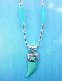 Turquoise Tooth shaped pendant with Silver Cap, 16 inch