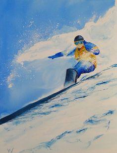 Snow Sport painting: Snow Surfing (watercolour  28 x 38cm) http://www.vandymassey.com/2014/01/snow-sport-painting-snow-surfing/