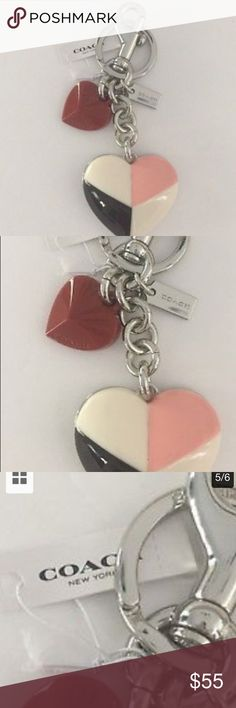 "COACH SUNDAE COLOR ""HEART""  CHARM/KEY NWT*AUTh COACH SUNDAE COLORED ""HEART"" BAG CHARM/KEY RING*NWT*AUTHENTIC* BRAND NEW LINE!  COACH ICE CREAM SUNDAE COLORED HEART with a small red Heart the perfect accessory for your Summer handbag or for your set of keys.   This a very pretty heart with Ice cream sundaecolors,chocolate and strawberry with a cherry on top. It's in a beautiful silver tone sundae cup. The hardware is Silver tone Split keyring/dog leash DUST BAG INCLUDED 100% AUTHENTIC…"