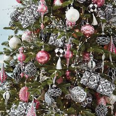 Pink,Black & White Christmas Ornaments,   Wilshire Ornament Collection