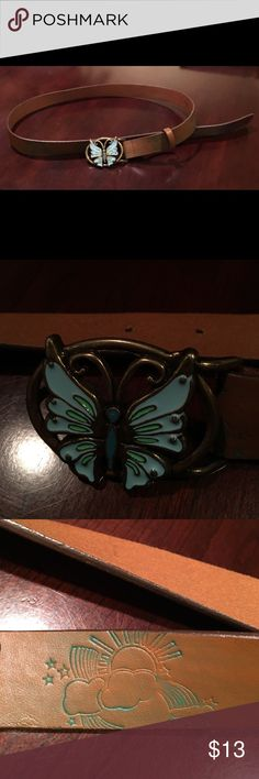 Heritage- Butterfly Buckle Leather Belt 🦋 Heritage- Butterfly Buckle Genuine Leather Belt. Size small. Features light and dark blue enamel butterfly emblem buckle. Length- 38 inches. Smoke-free home! Heritage 1981 Accessories Belts