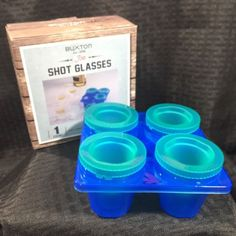 Shot-Glass-Ice-Molds-Boxed-New-Makes-4-Frozen-Shot-Glasses-Giftable-Buxton