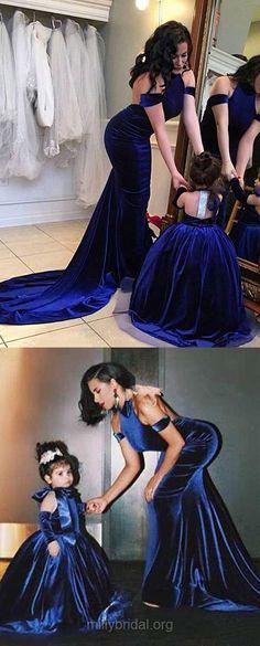 Royal Blue Prom Dresses Long, Sexy Prom Dresses 2018, Trumpet/Mermaid Prom Dresses Halter, Velvet Prom Dresses Ruffles Backless