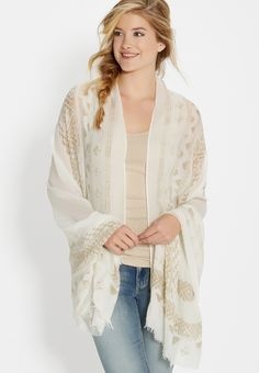 lightweight scarf wrap in ethnic print with raw edges in tan (original price, $20.00) available at #Maurices