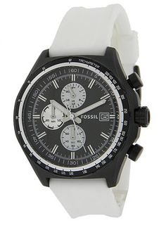 New Fossil Mens Awesome White Strap Chronograph Watch w/ Black Dial